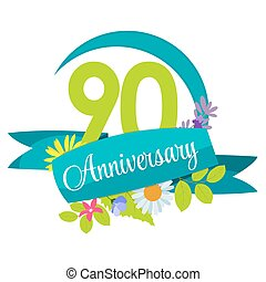 Cute Nature Flower Template 90 Years Anniversary Sign Vector...