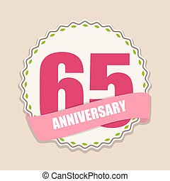 Cute Template 65 Years Anniversary Sign Vector Illustration...