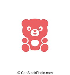 Teddy Bear logo modern flat cute plushy toy on a pink...