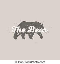Grizzly Bear animal abstract, scratched hipster style logo...