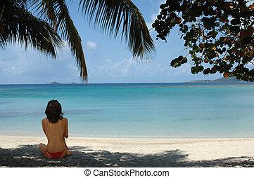 Girl on Tropical Beach