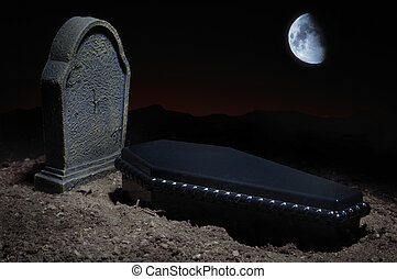 Grave Site - Grave site at night time with casket, headstone...