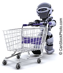 robot shopping - 3D render of a robot shopping with a cart