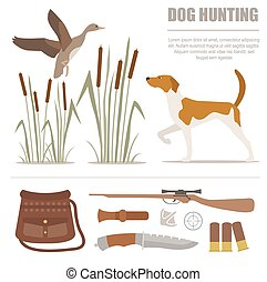Hunting icon set. Dog hunting, equipment. Flat style. Vector...