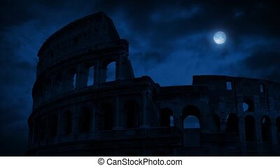 The Roman Colosseum At Night - The Colosseum in Rome late at...