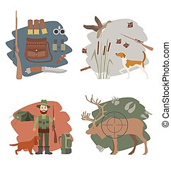 Hunting icon set Dog hunting, equipment Flat style Vector...