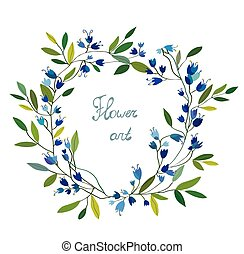 Floral wreath with hand drawn design