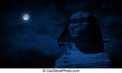 Sphinx Statue At Night With Moon - Closeup of the Sphinx in...