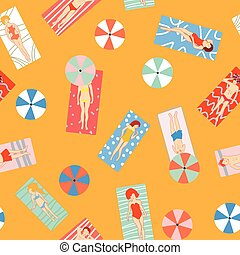 Beach holiday seamless pattern with people on the sun Vector...