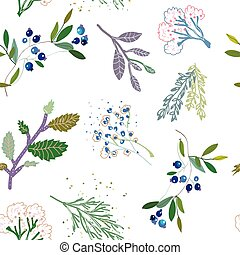 Herbal medicine plants seamless pattern, vector graphic...