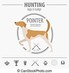 Hunting logo and badge template Dog hunting, equipment Flat...