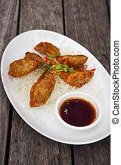 fritado, Chinês, tradicional, Gyoza, ou, Dumpling, ,