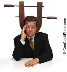 Under Pressure - Businessman with a vice on his head