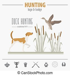 Hunting logo and badge template. Dog hunting, equipment....