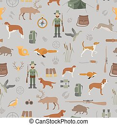Hunting seamless pattern Dog hunting, equipment Flat style...