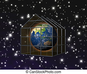 greenhouse effect - planet earth in greenhouse