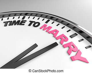 Time to marry - Clock with words time to marry on its face