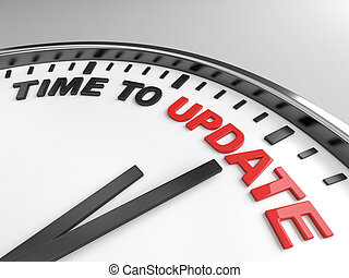 Time to update - Clock with words time to update on its face