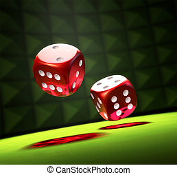 Rolling the Dice - 2 Red Dice on a green table in a spot