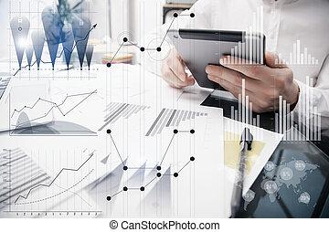 Banker Working Process.Photo Analyst Trader work Market...