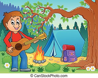 Boy guitar player in campsite theme 2 - eps10 vector...