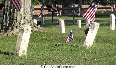 Old American Cemetary and Flags