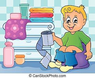 Boy on potty theme image 2 - eps10 vector illustration.