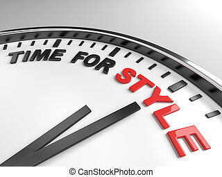 time for style - Clock with words time for style on its face