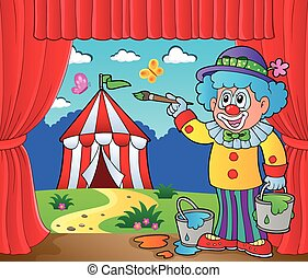 Clown painting image of circus on stage - eps10 vector...