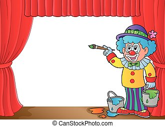 Clown with paints on stage - eps10 vector illustration.