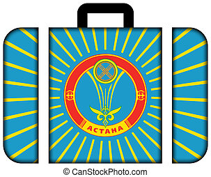 Flag of Astana. Suitcase icon, travel and transportation concept