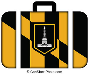 Flag of Baltimore, Maryland Suitcase icon, travel and...