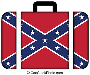 Confederate Flag. Suitcase icon, travel and transportation concept