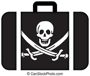 Calico Jack Pirate Flag. Suitcase icon, travel and...