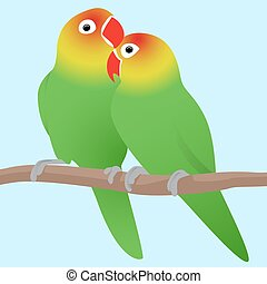 Vector illustration of lovebirds parrots.