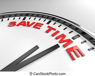 save time - Clock with words save time on its face