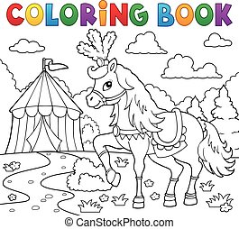Coloring book horse near circus