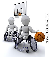 wheelchair basket ball - 3D render of men in wheelchairs...