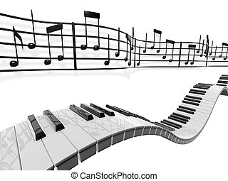 Musical Notes - A musical score waving and bending behind...
