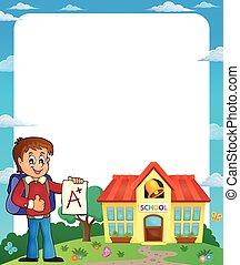Frame with school boy