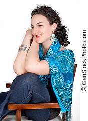 Young woman on chair - Young model in her mid twenties...