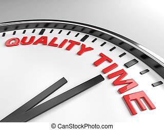quality time - Clock with words quality time on its face