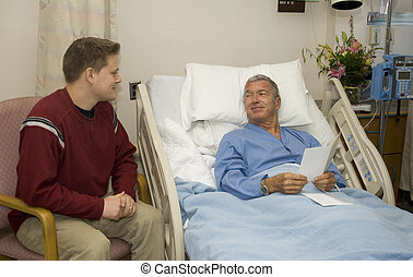 Hospital Visitation - Son visiting his Dad in the hospital