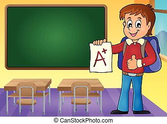 School boy with A plus grade theme