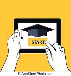 E-education and distance learning - hands with tablet pc