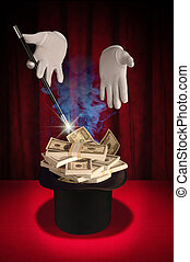 Magic Series - Magic Money - White gloved hands holding a...