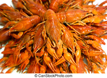 Bouquet of red boiled crayfish.