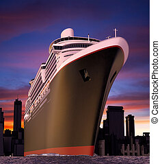 cruise ship - luxury cruise ship shot from extreme angle at...