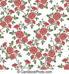 Vector seamless pattern - romantic red roses For printing on...