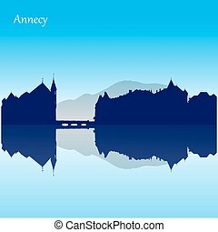 Vector silhouette skyline of Annecy - France